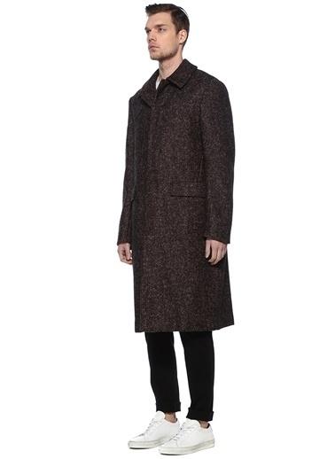 Sartoriale Sartoriale 101523624 Drop 8 Polo Yaka Mikro Desenli Yün Palto Siyah